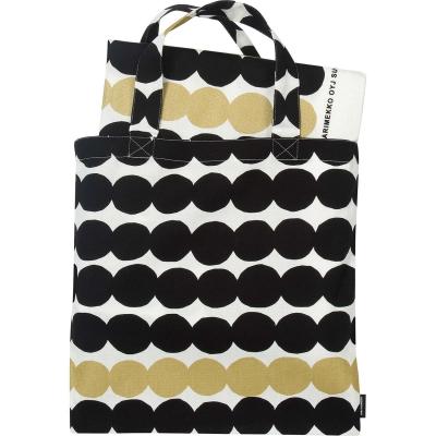 Räsymatto väska & bomullstyg, vit/svart