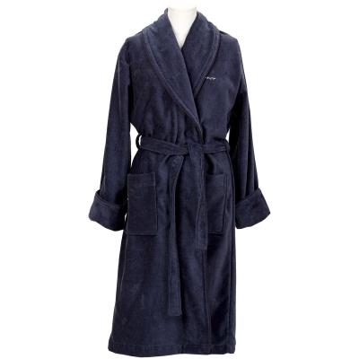 Premium Velour morgonrock L, sateen blue