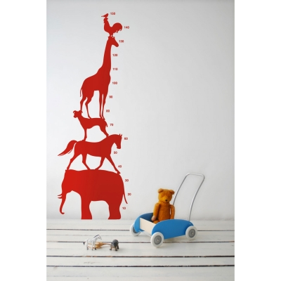 Animal Tower wallsticker röd