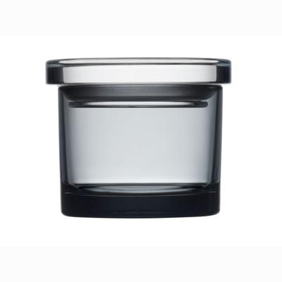 Glasburk med lock grå 8 cm