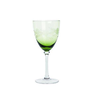 Vitvinsglas med mönster grön