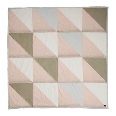 Fnug sängöverkast, rosa/grön