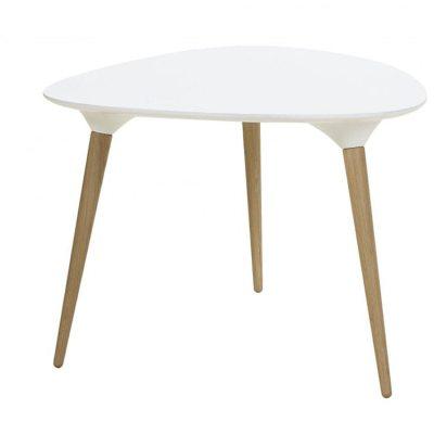 Icicle trekantigt bord vit skiva med ben i ek