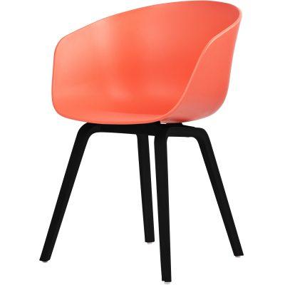 About a Chair 22, korallröd/svarta ben