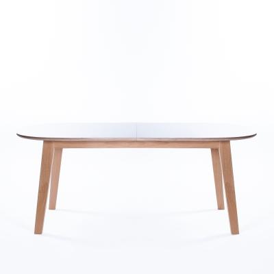 Nordik ovalt matbord, vit/ek