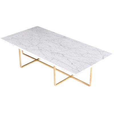 Bild av Ninety soffbord 120x 60x 30 cm, vit marmor/mässing