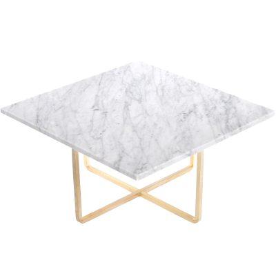 Bild av Ninety soffbord 60x 60x 30 cm, vit marmor/mässing