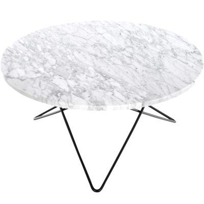 O soffbord, vit marmor/svart