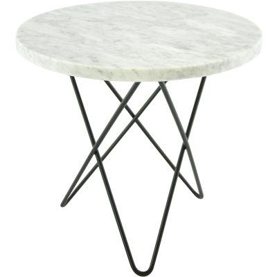 Mini O sidobord vit marmor/svart