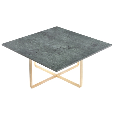 Bild av Ninety soffbord 80x 80x 35 cm, grön marmor/mässing