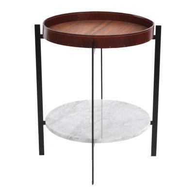 Bild av Deck sidobord, vit marmor/teak