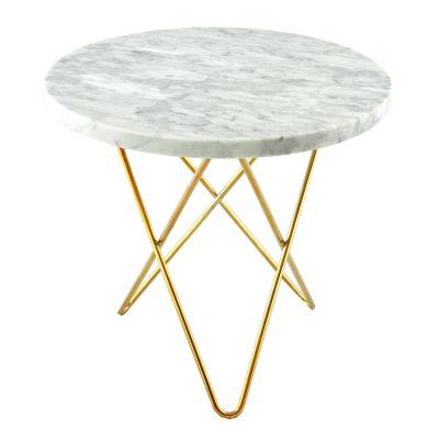 Bild av Tall Mini O sidobord, vit marmor/mässing