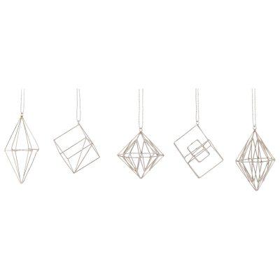 3D ornamenter 5-pack, silver
