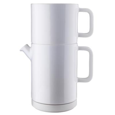 Café kaffebryggs-set L vit/gult lock