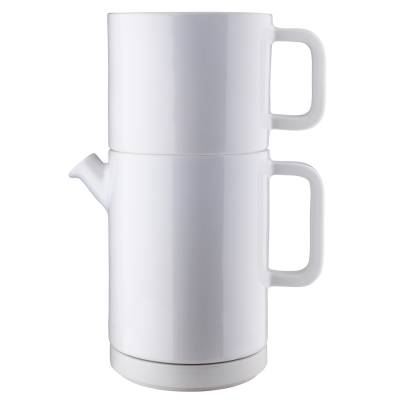 Café kaffebryggs-set L vit/svart lock