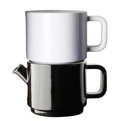 Café kaffebryggs-set S svart kanna/vit lock