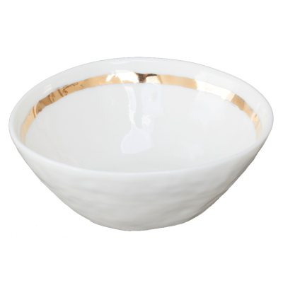 Patchy skål Rand vit/guld
