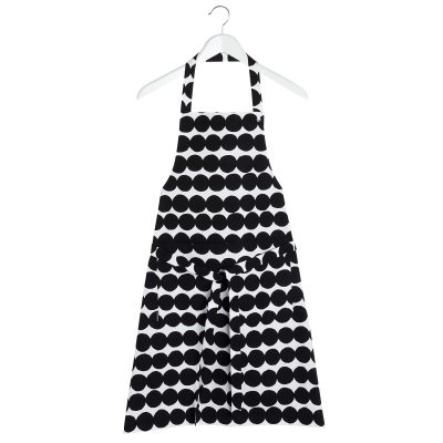 Räsymatto förkläde, svart/vit