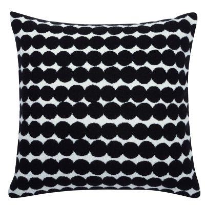 Räsymatto kudde, svart/vit
