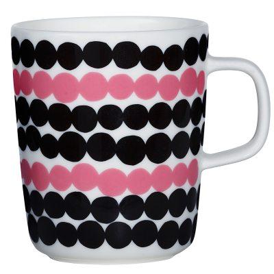 Oiva mugg, svart/vit/rosa