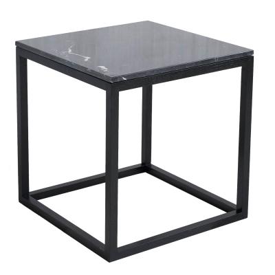 The Cube sidobord M svart marmor/svart
