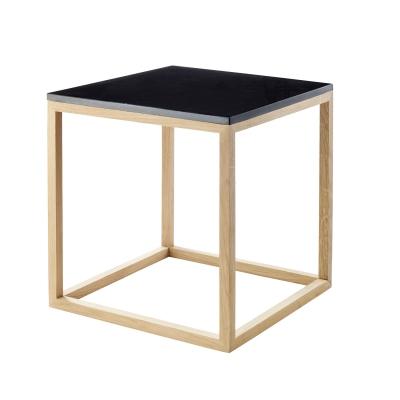 Bild av The Cube sidobord S, svart marmor/ek