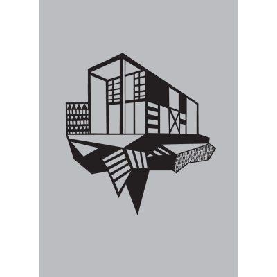 Simpel House poster A4, svart/grå