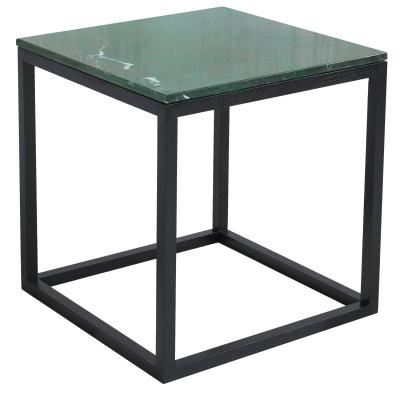 The Cube sidobord M grön marmor/svart