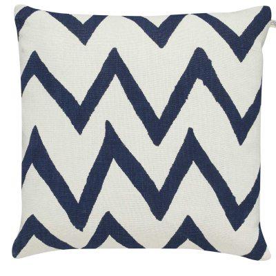 Zigzag Big kuddfodral M vit/blå
