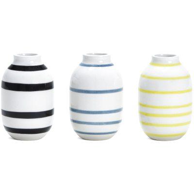 Bild av Omaggio minivas 3-pack, svart/blå/gul