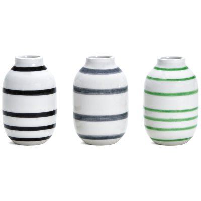 Bild av Omaggio minivas 3-pack, svart/grå/grön