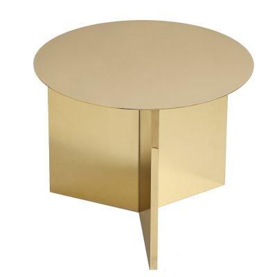 Slit Round bord mässing/spegelglas