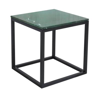 The Cube sidobord S grön marmor/svart