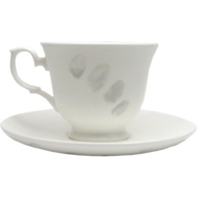 Fingerprint kopp med fat S light grey
