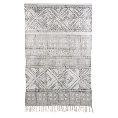 Spring matta 180x180, svart/vit