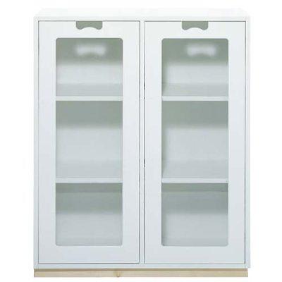 Snö Skåp E d30cm glasdörrar vit sockel ek