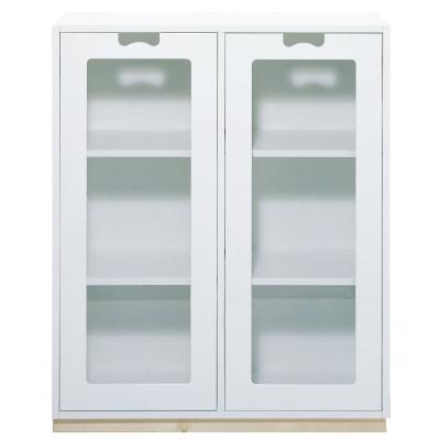Snö Skåp E d42cm glasdörrar vit sockel björk