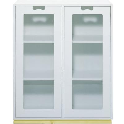 Snö Skåp E d42cm glasdörrar vit sockel ek