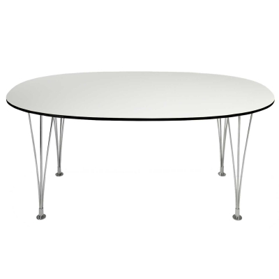 Bild av Superellips bord 240x 120x 72, vit laminat, svart kant