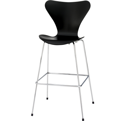 Sjuan barstol låg svart ask