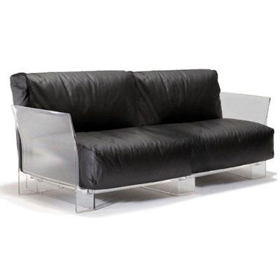 Pop soffa 2-sits svart läder