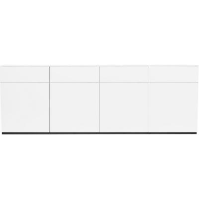 Arctic tv-bänk 4 skåp 4 lådor vit matt+topp vitlack