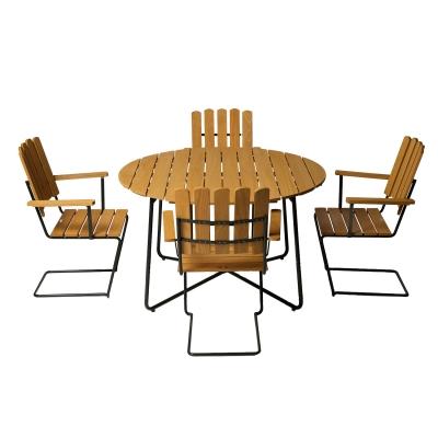 4 st fåtölj A2 + bord 9A 120 cm oljad ek/grönt stativ