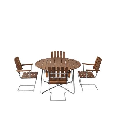 4 st fåtölj A2 + bord 9A 120 cm teak