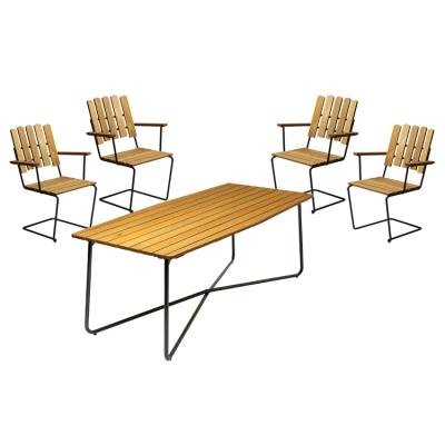4 st fåtölj A2 + bord B30 190 cm oljad ek/grönt stativ