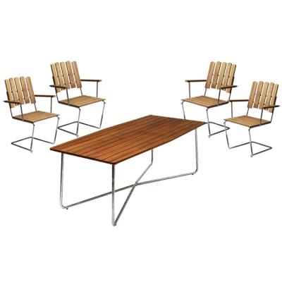 4 st fåtölj A2 + bord B30 190 cm teak