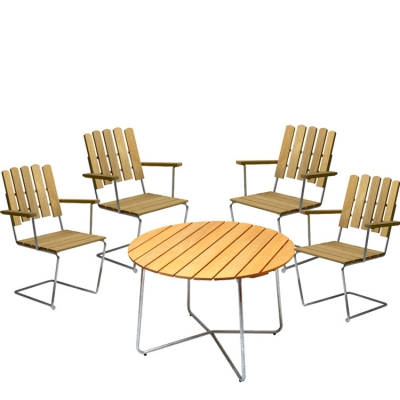 4 st fåtölj A2 + bord 9A 100 cm oljad ek/varmförzinkat stativ