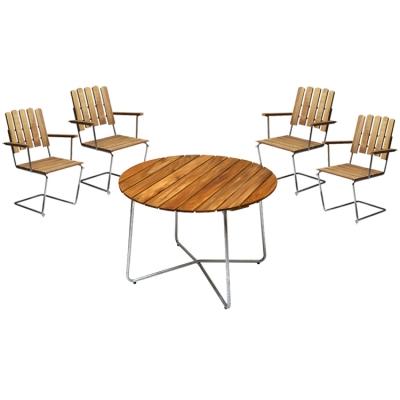 4 st fåtölj A2 + bord 9A 100 cm teak