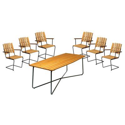 6 st fåtölj A2 + bord B30 190 cm oljad ek/grönt stativ