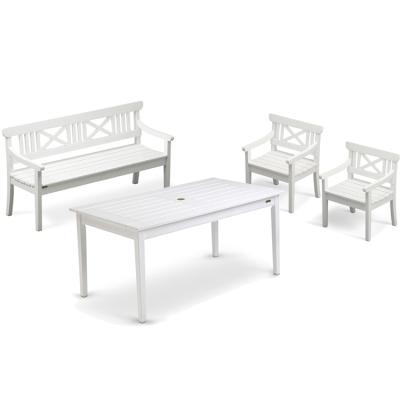 Drachmann grupp 2 stolar + 1 soffa + 1 bord, vit